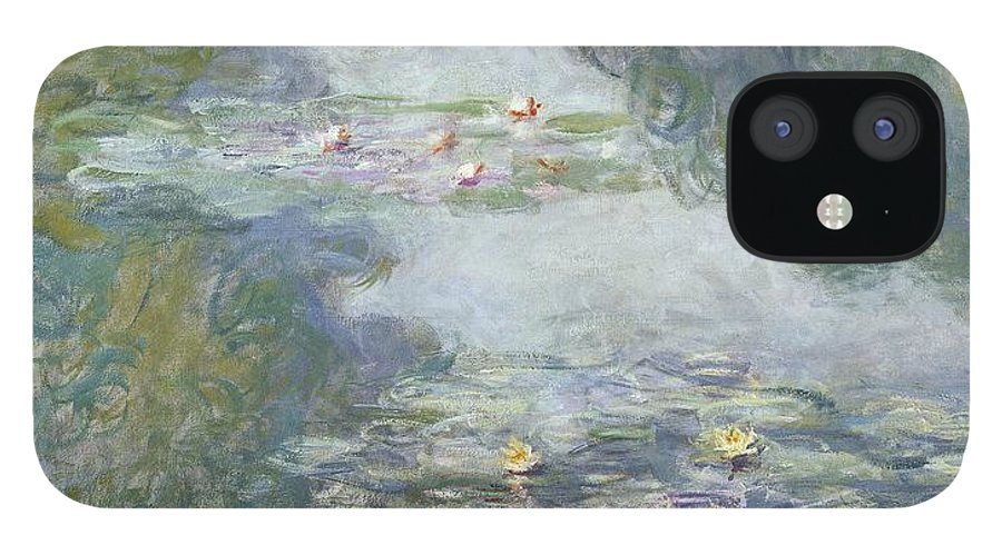 Pads IPhone 12 Case featuring the painting Waterlilies by Claude Monet