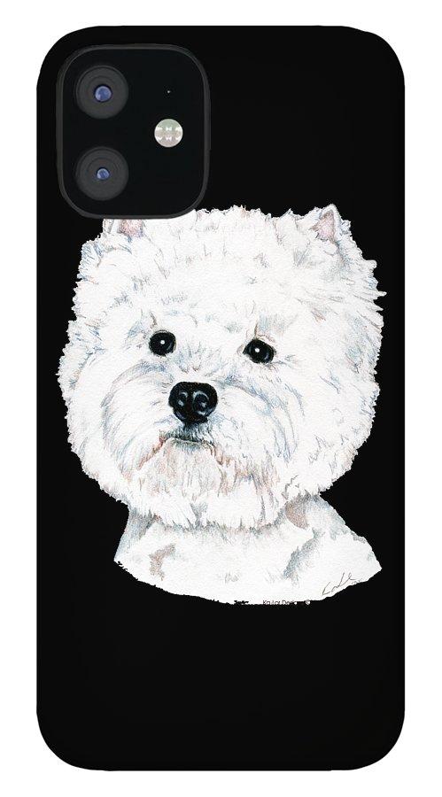 West Highland White Terrier IPhone 12 Case featuring the drawing West Highland White Terrier, Westie by Kathleen Sepulveda
