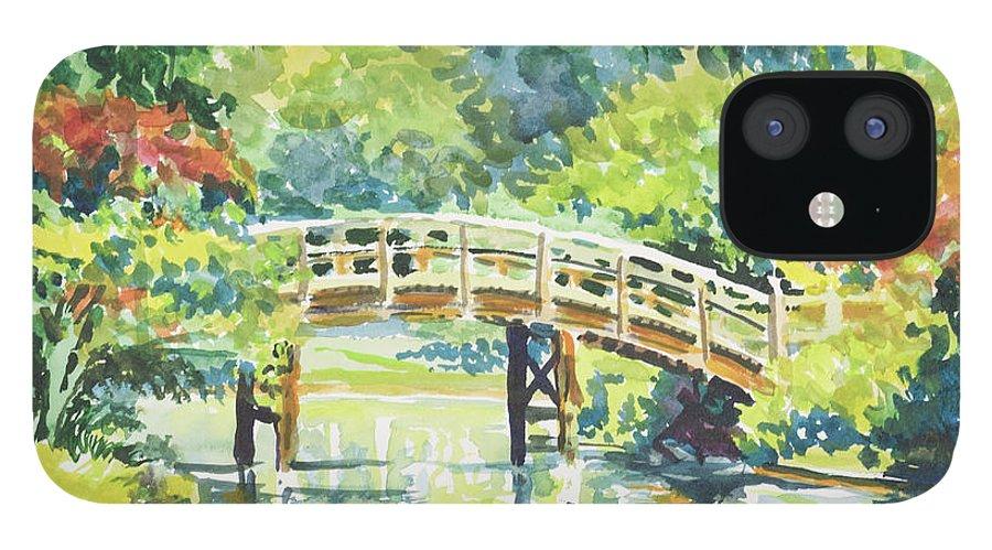 Missouri Botanical Garden iPhone 12 Case featuring the painting 159 Mobot Japanese Bridge by Marilynne Bradley