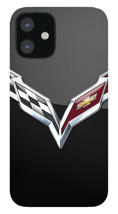 �wheels Of Fortune� Collection By Serge Averbukh IPhone 12 Case featuring the photograph Chevrolet Corvette 3D Badge on Black by Serge Averbukh