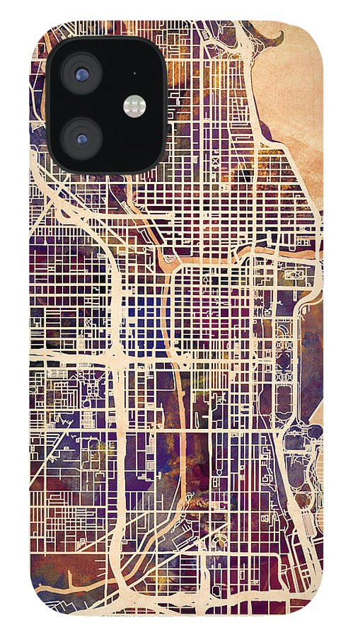 Chicago IPhone 12 Case featuring the digital art Chicago City Street Map by Michael Tompsett