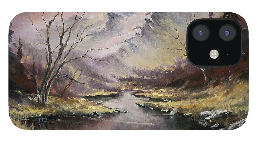Original Landscape Oil Painting IPhone 12 Case featuring the painting Landscape by Michael Lang