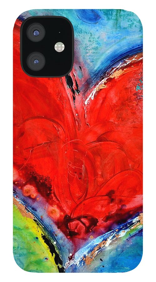 Heart IPhone 12 Case featuring the mixed media Music of the Heart by Ivan Guaderrama