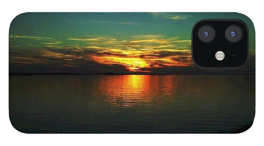 Sunset IPhone 12 Case featuring the digital art Sunset by Dawn Johansen