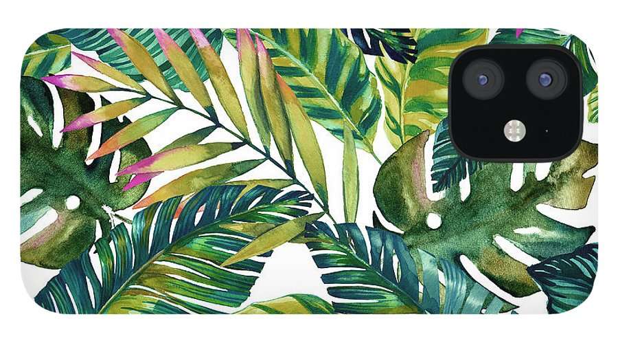 Tropical Leaves iPhone 12 Case featuring the painting Tropical Green Leaves Pattern by Mark Ashkenazi