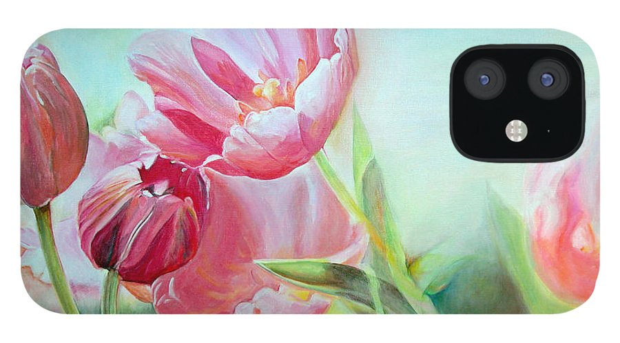 Floral Painting IPhone 12 Case featuring the painting Tulipes by Muriel Dolemieux