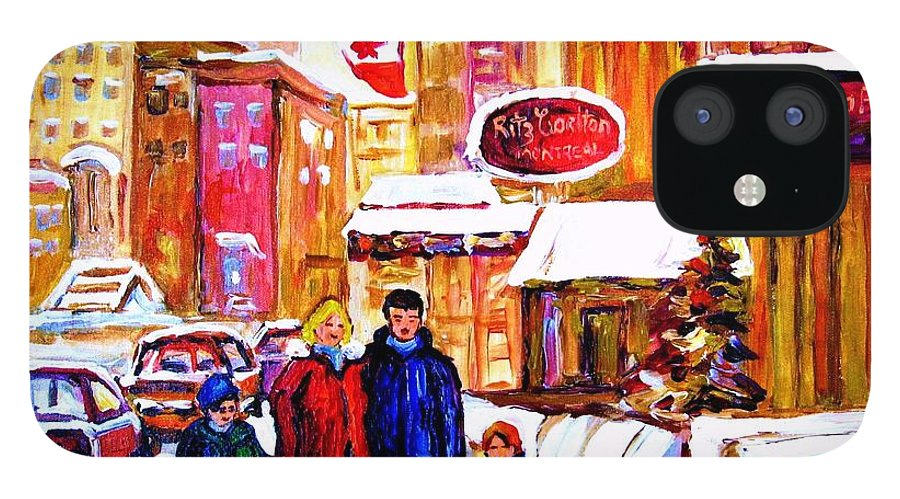 Montreal IPhone 12 Case featuring the painting Montreal Street In Winter by Carole Spandau