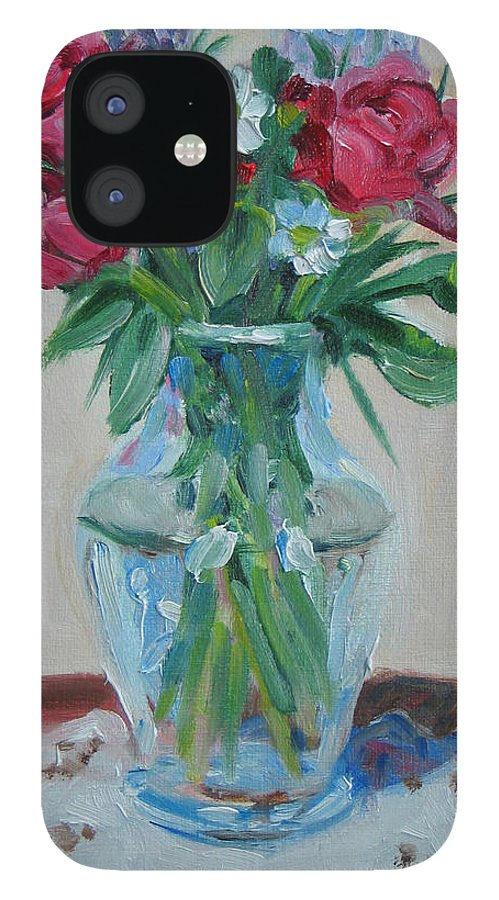 Roses IPhone 12 Case featuring the painting 3 Roses by Paul Walsh