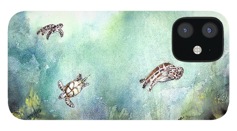 Turtle IPhone 12 Case featuring the painting 3 Sea Turtles by Derek Mccrea