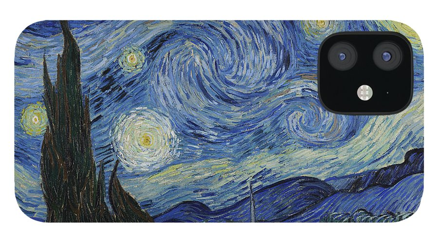 Vincent IPhone 12 Case featuring the painting The Starry Night by Vincent Van Gogh