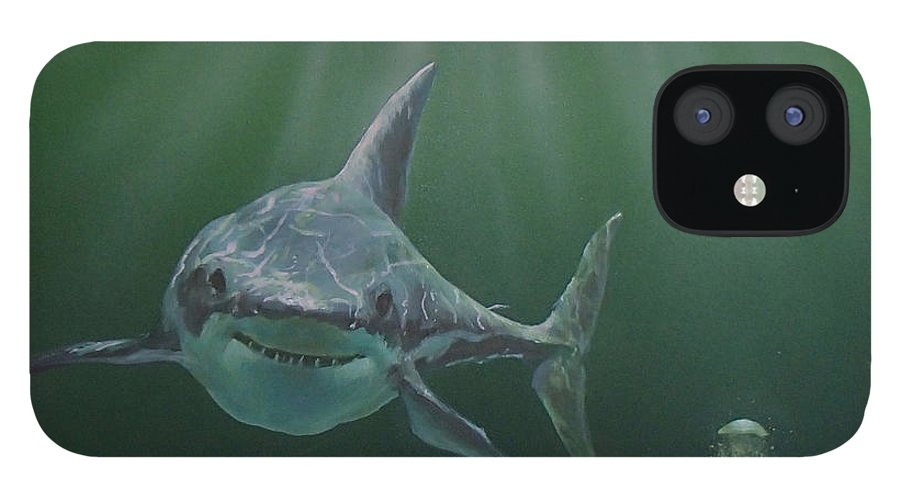 Shark IPhone 12 Case featuring the painting Untitled 3 by Philip Fleischer