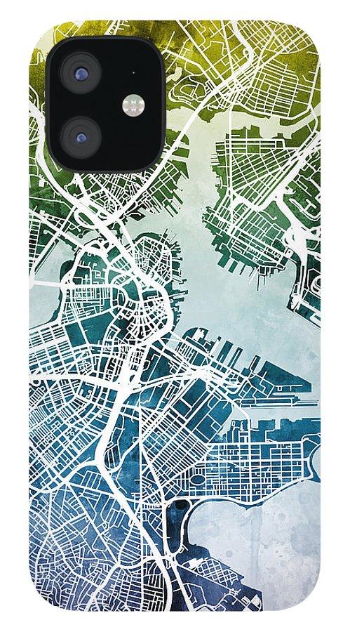 Street Map IPhone 12 Case featuring the digital art Boston Massachusetts Street Map by Michael Tompsett