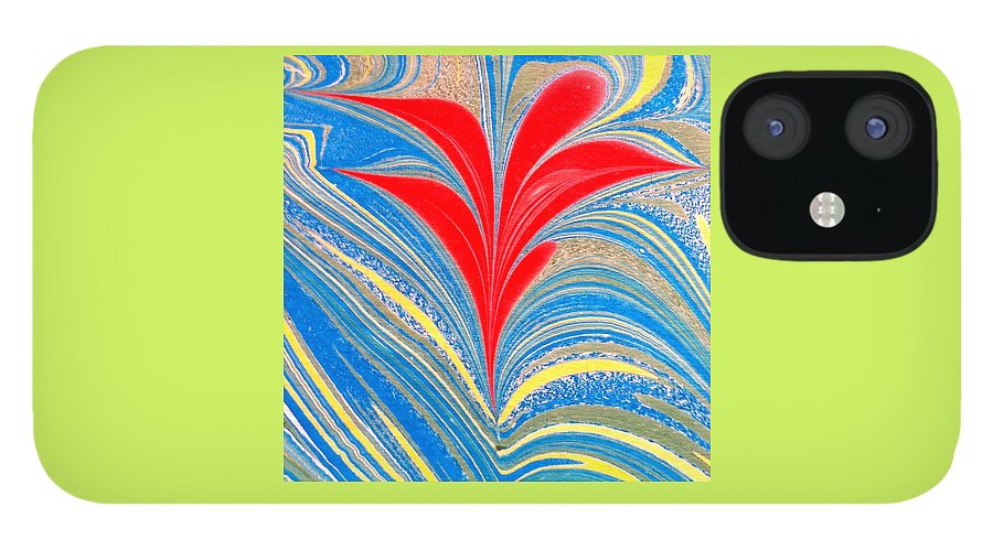 Flower IPhone 12 Case featuring the painting Water Marbling Art, Ebru by Dilan C