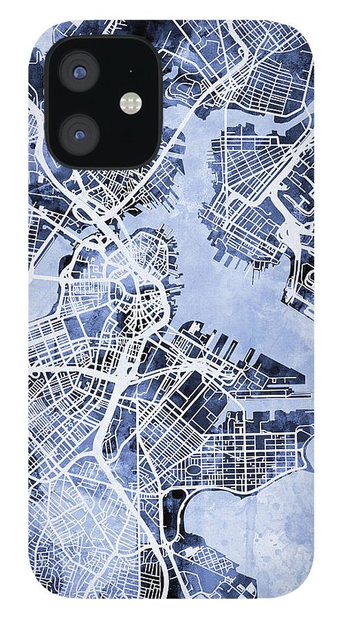 Street Map IPhone 12 Case featuring the digital art Boston Massachusetts Street Map by Michael Tompsett