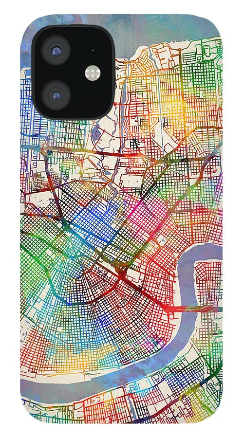 Street Map IPhone 12 Case featuring the digital art New Orleans Street Map by Michael Tompsett