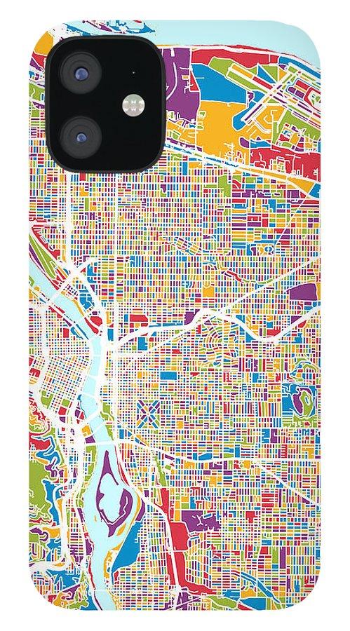 Portland IPhone 12 Case featuring the digital art Portland Oregon City Map by Michael Tompsett