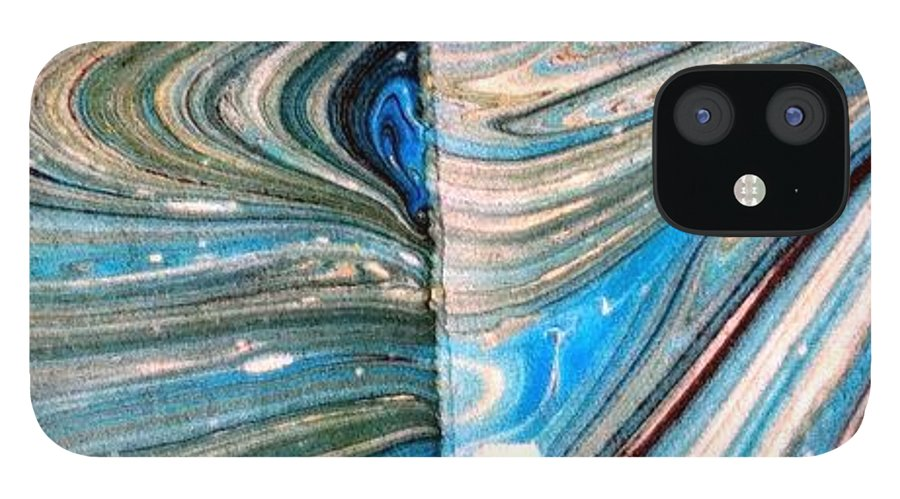 Abstract IPhone 12 Case featuring the painting Water Marbling Art, Ebru by Dilan C