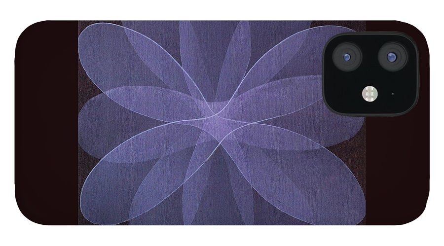Abstract IPhone 12 Case featuring the painting Abstract flower by Jitka Anlaufova