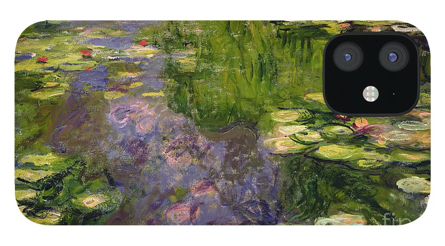 Nympheas; Water; Lily; Waterlily; Impressionist; Green; Purple IPhone 12 Case featuring the painting Waterlilies by Claude Monet