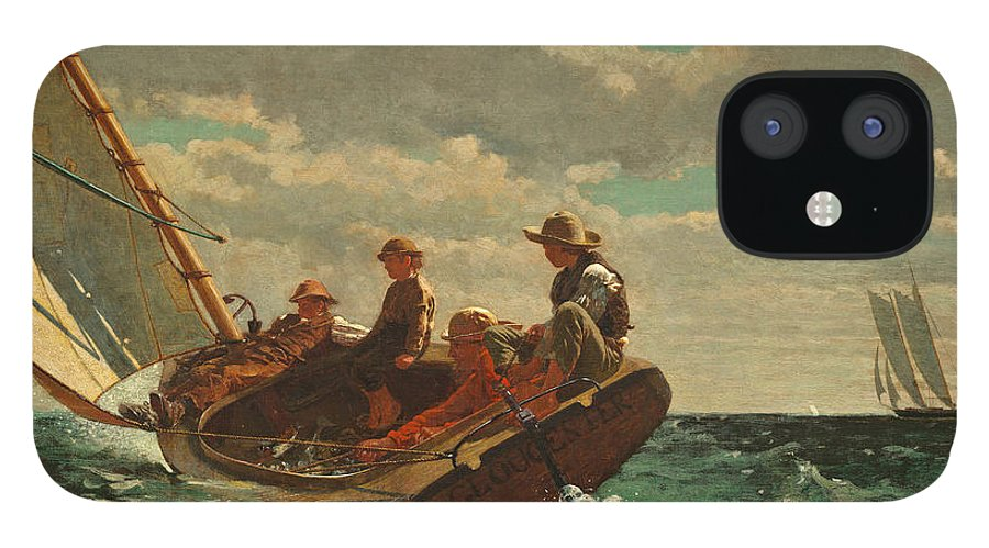 Brezing Up IPhone 12 Case featuring the painting Breezing Up by Winslow Homer