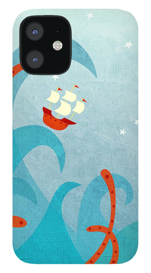 Waves IPhone 12 Case featuring the painting A Bad Day for Sailors by Nic Squirrell