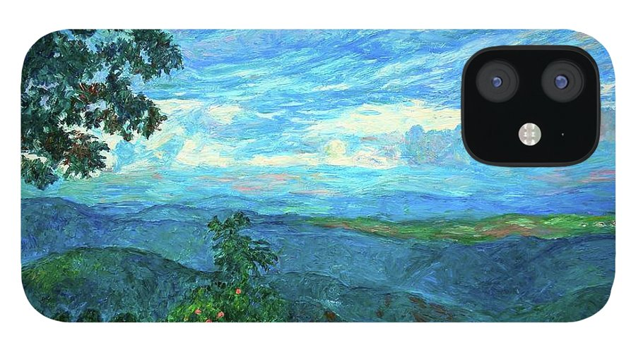 Mountains IPhone 12 Case featuring the painting A Break in the Clouds by Kendall Kessler