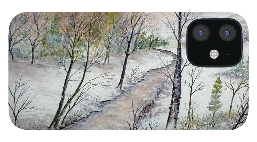 Snow; Creek; Trees; Old House; Sunrise;mountains iPhone 12 Case featuring the painting A Country Winter by Ben Kiger