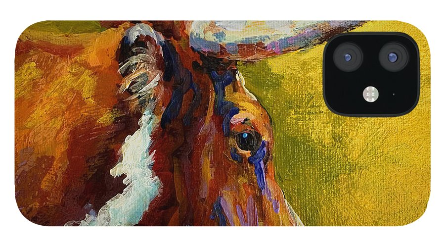 Western IPhone 12 Case featuring the painting A Couple Of Pointers - Longhorn Steer by Marion Rose