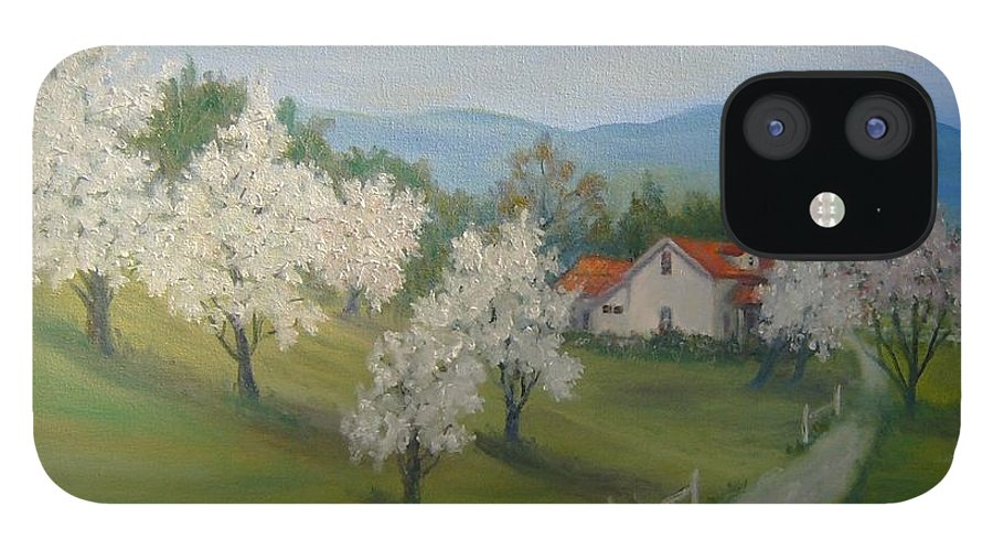 Landscape; Spring; Mountains; Country Road; House IPhone 12 Case featuring the painting A Day in the Country by Ben Kiger