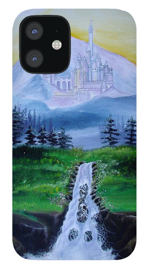 Landscape IPhone 12 Case featuring the painting A Fairytale by Glory Fraulein Wolfe
