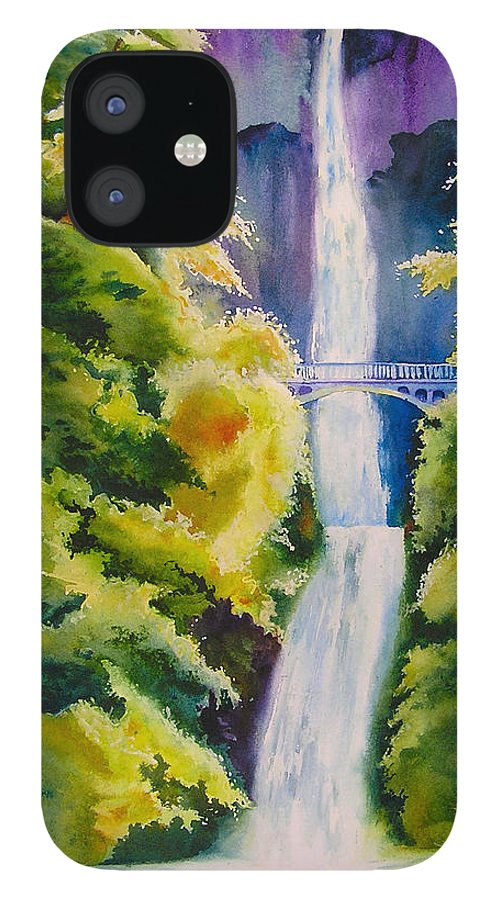 Waterfall IPhone 12 Case featuring the painting A Favorite Place by Karen Stark