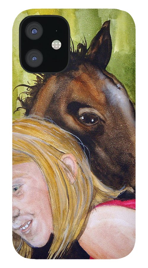 Equine IPhone 12 Case featuring the painting A Little Girl's Fancy by Jean Blackmer
