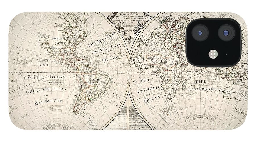 Map IPhone 12 Case featuring the painting A Map of the World by John Senex