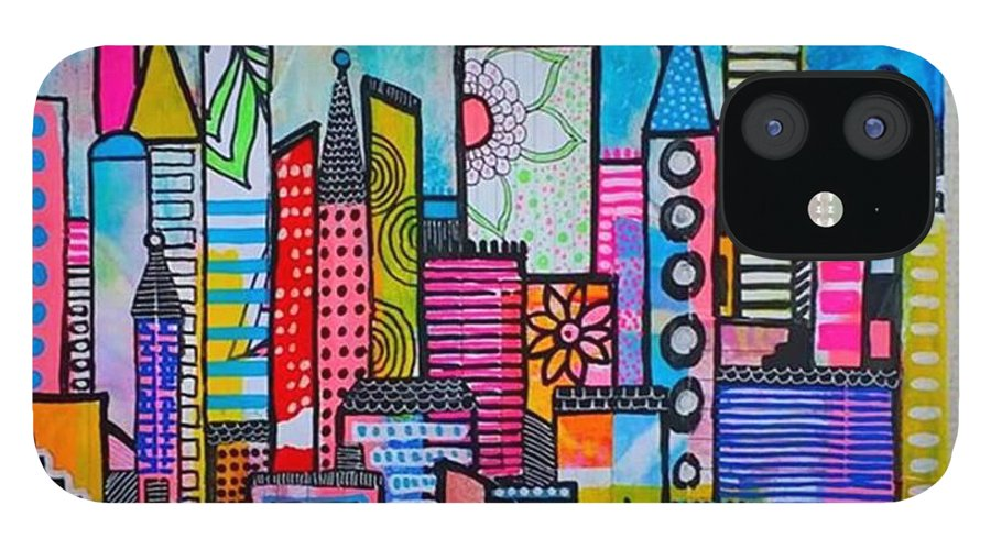 Shine IPhone 12 Case featuring the photograph A New 12 X12 #cityscape #collage by Robin Mead