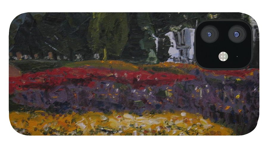Landscape IPhone 12 Case featuring the painting A Park in Cambrige by Piety Choi