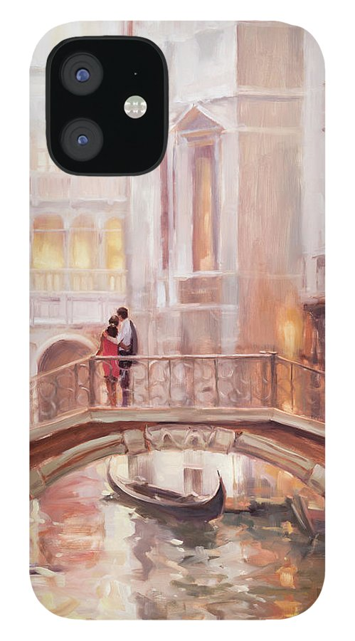 Romantic IPhone 12 Case featuring the painting A Perfect Afternoon in Venice by Steve Henderson