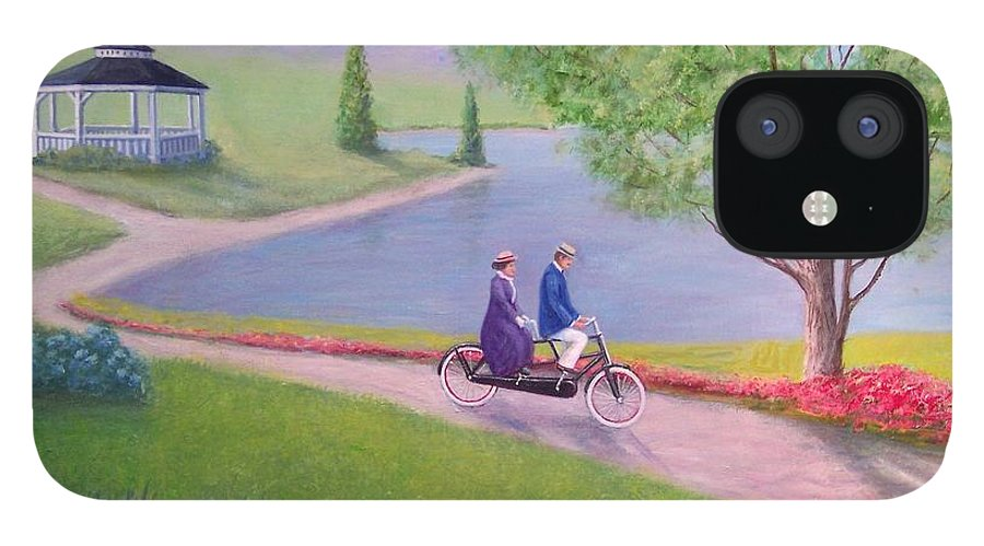 Landscape IPhone 12 Case featuring the painting A Ride In The Park by William H RaVell III