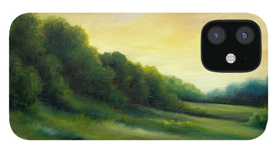 Clouds IPhone 12 Case featuring the painting A Spring Evening Part Two by James Christopher Hill