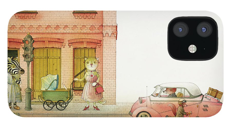 Striped Zebra Cat Cars Street Traffic Old Town Red Children Illustration Book Animals iPhone 12 Case featuring the drawing A Striped Story02 by Kestutis Kasparavicius