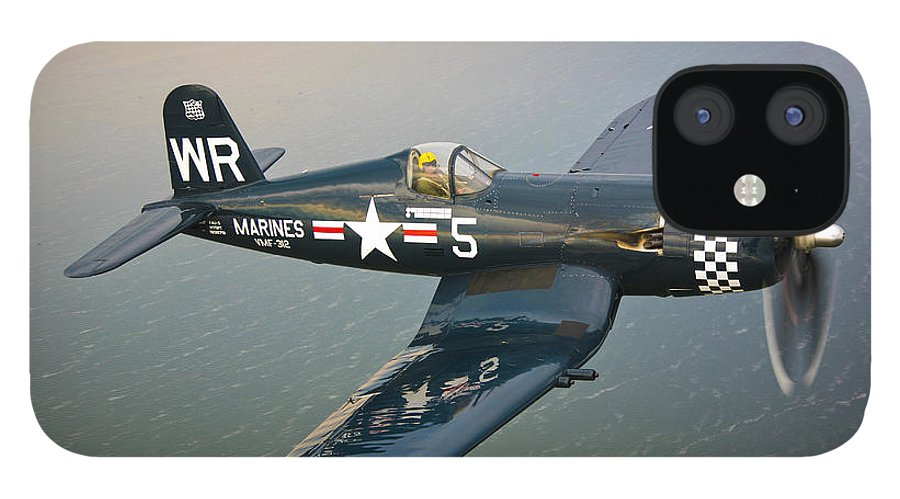 Transportation IPhone 12 Case featuring the photograph A Vought F4u-5 Corsair In Flight by Scott Germain