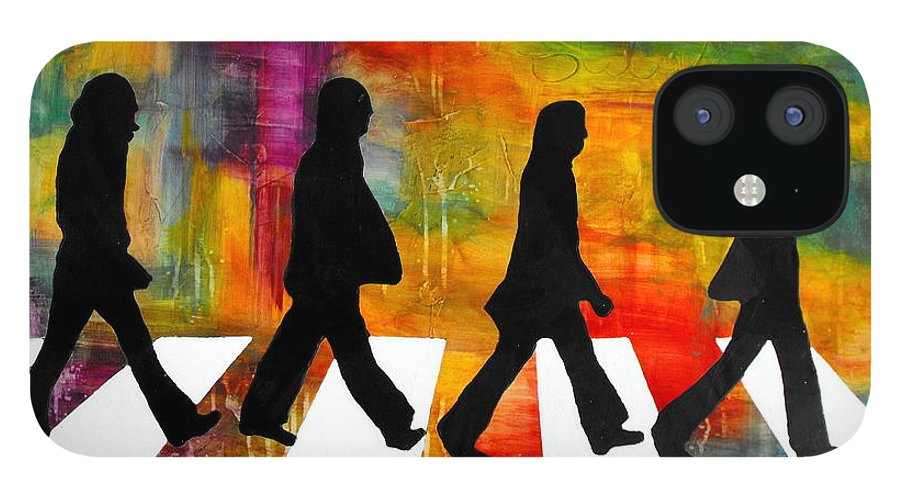 Music IPhone 12 Case featuring the mixed media Abbey Road by Ivan Guaderrama