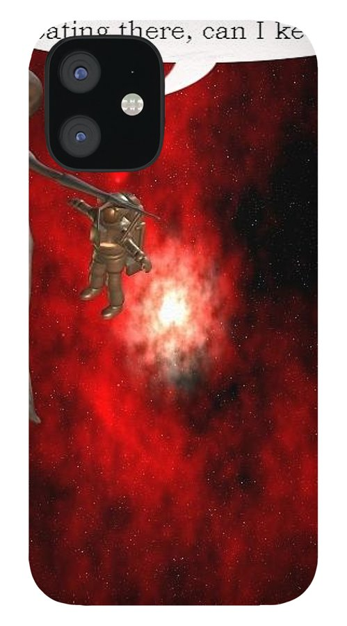 Artrage Artrageus Comics Cartoon Space Aliens Astronaut iPhone 12 Case featuring the digital art Abducted by Robert aka Bobby Ray Howle