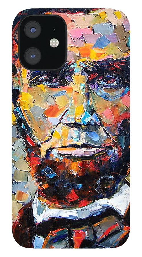 President IPhone 12 Case featuring the painting Abraham Lincoln portrait by Debra Hurd