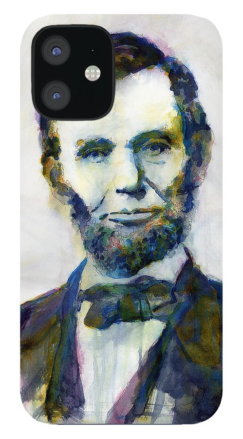 Abraham IPhone 12 Case featuring the painting Abraham Lincoln Portrait Study 2 by Hailey E Herrera