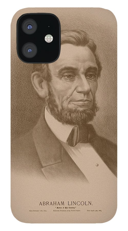 Abraham Lincoln IPhone 12 Case featuring the drawing Abraham Lincoln - Savior Of His Country by War Is Hell Store