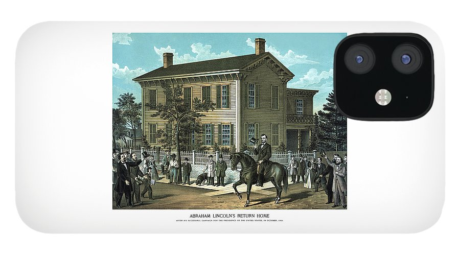 Abraham Lincoln IPhone 12 Case featuring the painting Abraham Lincoln's Return Home by War Is Hell Store