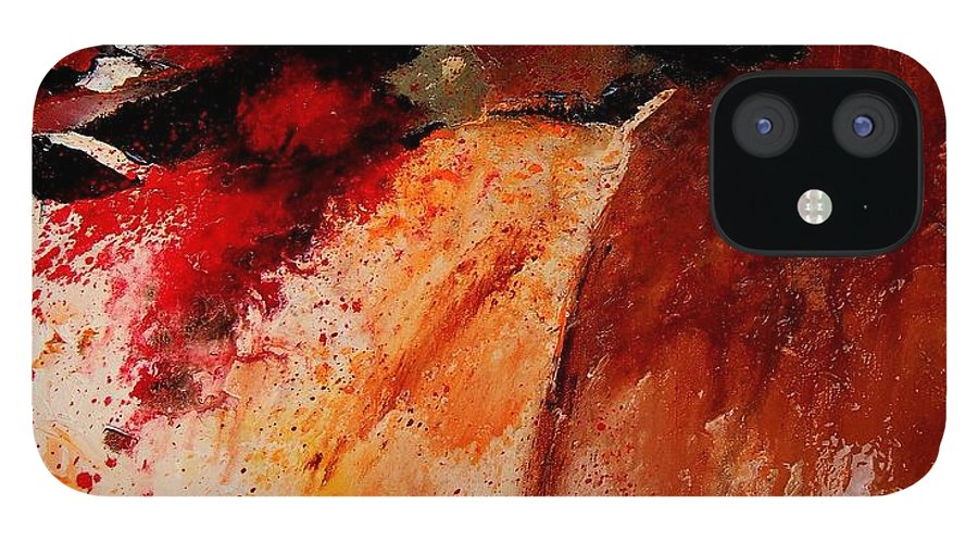 Abstract IPhone 12 Case featuring the painting Abstract 010607 by Pol Ledent