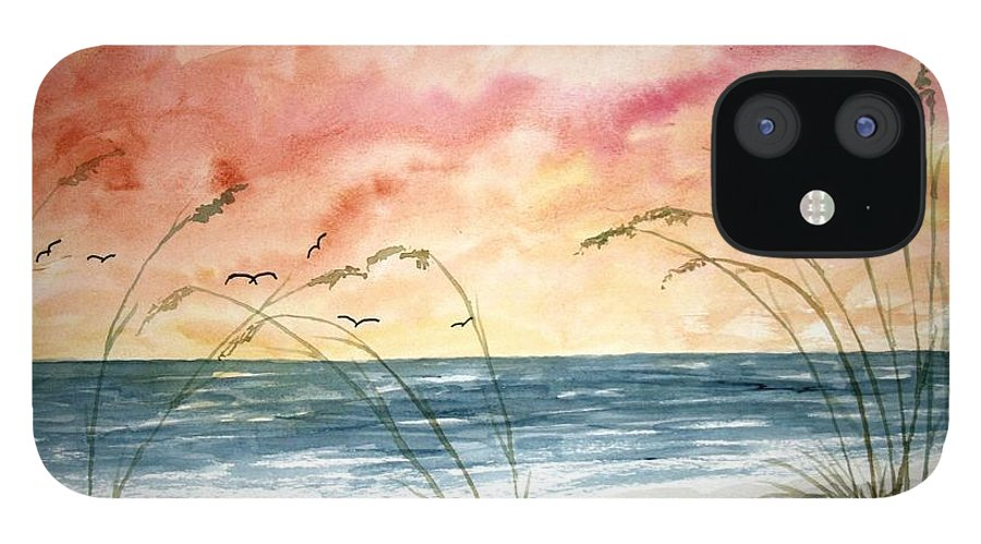 Abstract iPhone 12 Case featuring the painting Abstract Beach Painting by Derek Mccrea