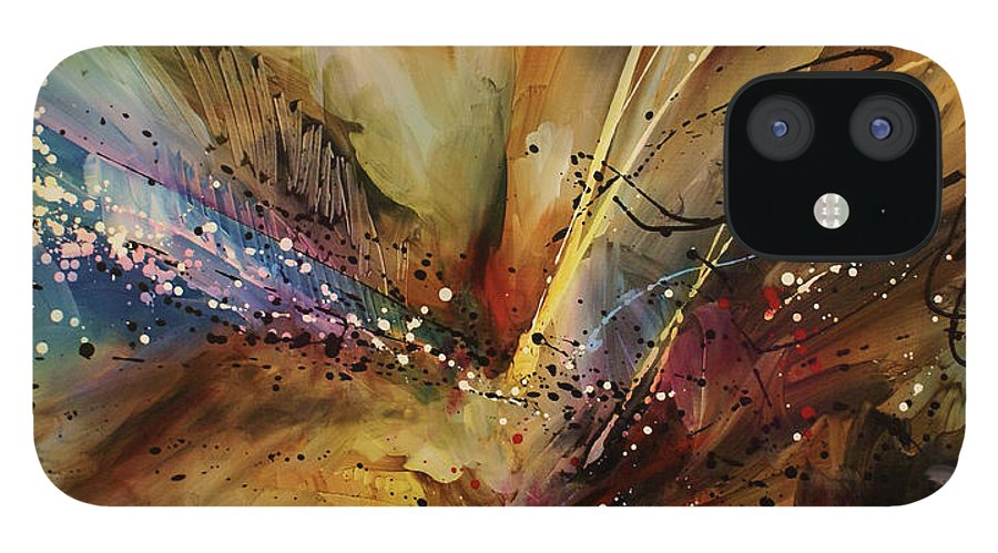 Abstract Expressionism iPhone 12 Case featuring the painting Abstract design 108 by Michael Lang
