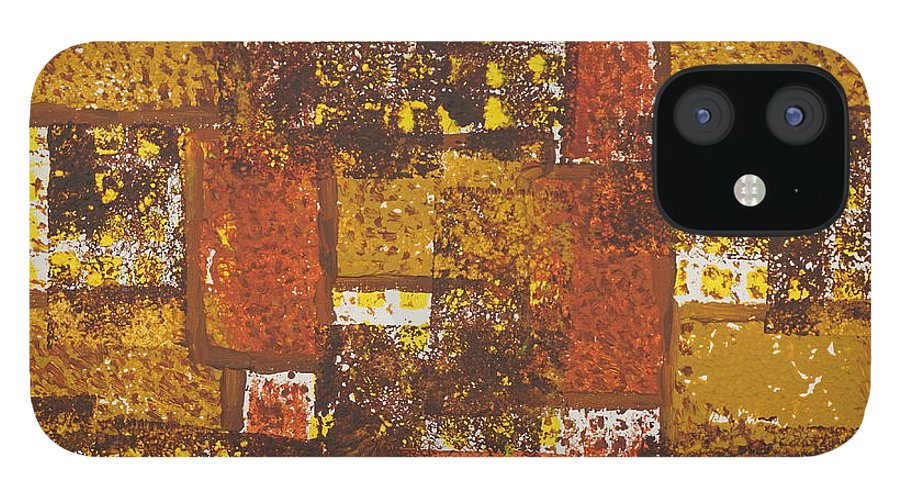 Acrylic IPhone 12 Case featuring the painting Abstract_ Fall by Jimmy Clark